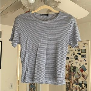 White and light blue striped brandy Melville top